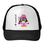 Amo el pingüino del béisbol gorros bordados