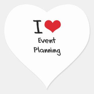 Amo el planeamiento del acontecimiento pegatina en forma de corazón