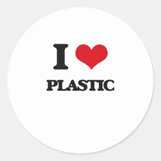 Amo el plástico pegatina redonda