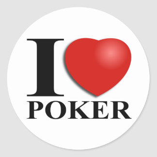 Amo el póker pegatina redonda