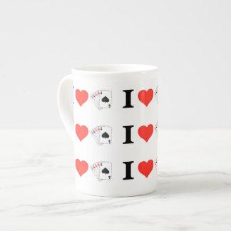 Amo el póker taza de porcelana