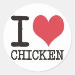 ¡Amo el pollo - Champán - los productos del Pegatinas Redondas