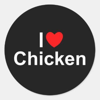 Amo el pollo (del corazón) pegatina redonda