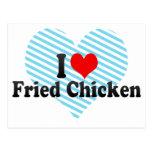 Amo el pollo frito tarjeta postal