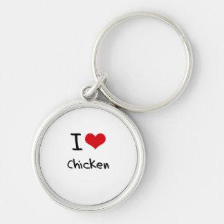 Amo el pollo llavero redondo plateado