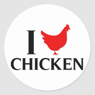 Amo el pollo pegatina redonda
