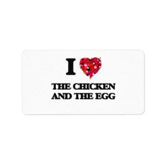 Amo el pollo y el huevo etiqueta de dirección