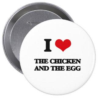 Amo el pollo y el huevo chapa redonda 10 cm