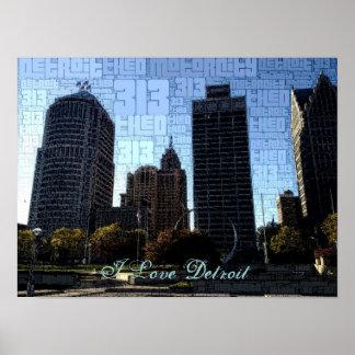 Amo el poster de Detroit - centro de la ciudad de