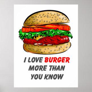 Amo el poster de la hamburguesa