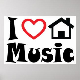 Amo el poster de la música de la casa