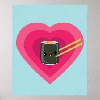 Amo el poster del rollo de sushi de Kawaii del sus