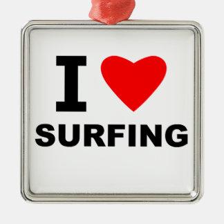 Amo el practicar surf adorno navideño cuadrado de metal