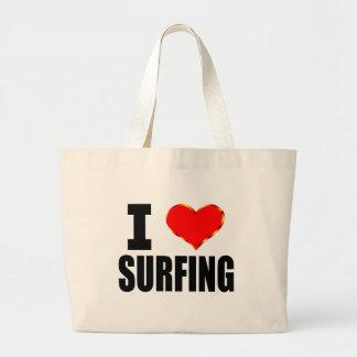 Amo el practicar surf bolsa tela grande