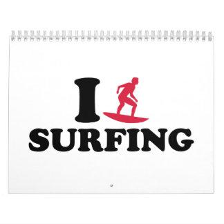 Amo el practicar surf calendario