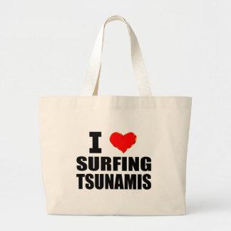 Amo el practicar surf de tsunamis bolsa tela grande