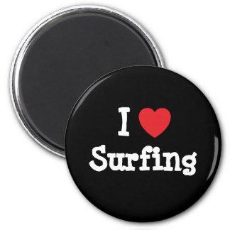 Amo el practicar surf del personalizado del corazó iman de frigorífico