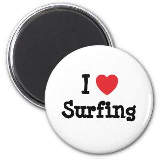 Amo el practicar surf del personalizado del corazó imán redondo 5 cm
