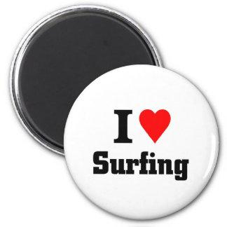Amo el practicar surf imán redondo 5 cm