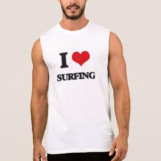 Amo el practicar surf camiseta sin mangas