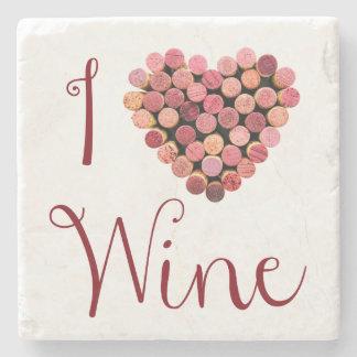 Amo el práctico de costa de piedra del vino posavasos de piedra