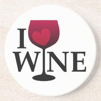 Amo el práctico de costa del vino posavasos para bebidas