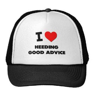 Amo el prestar atención de buen consejo gorras
