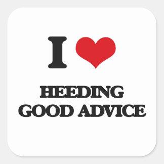 Amo el prestar atención de buen consejo pegatina cuadrada