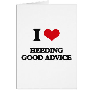 Amo el prestar atención de buen consejo tarjeta de felicitación