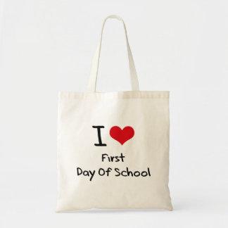 Amo el primer día de escuela bolsa de mano
