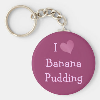 Amo el pudín del plátano llavero redondo tipo pin