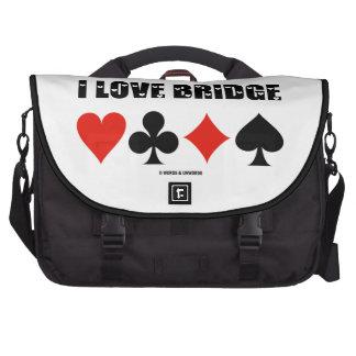 Amo el puente (cuatro juegos de la tarjeta) bolsas para portatil