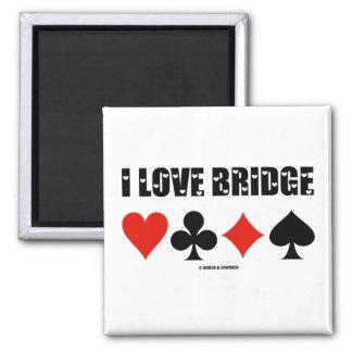 Amo el puente (cuatro juegos de la tarjeta) imán cuadrado
