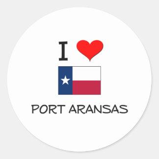 Amo el puerto Aransas Tejas Pegatinas Redondas