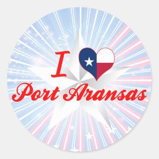 Amo el puerto Aransas Tejas Pegatina Redonda