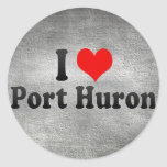 Amo el puerto Huron, Estados Unidos Pegatinas Redondas