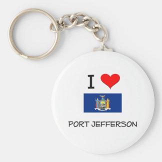 Amo el puerto Jefferson Nueva York Llavero Redondo Tipo Pin