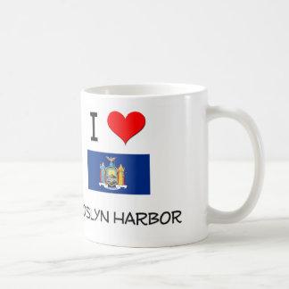 Amo el puerto Nueva York de Roslyn Taza Básica Blanca