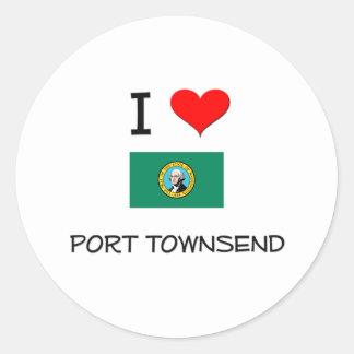 Amo el puerto Townsend Washington Pegatina Redonda