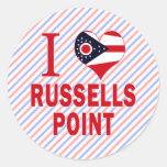 Amo el punto de Russells, Ohio Pegatina Redonda