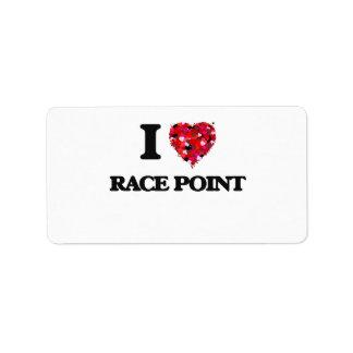 Amo el punto Massachusetts de la raza Etiquetas De Dirección