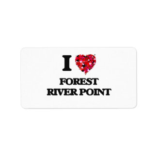 Amo el punto Massachusetts del río del bosque Etiquetas De Dirección