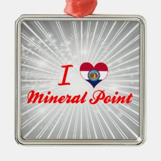 Amo el punto mineral, Missouri Adorno Cuadrado Plateado