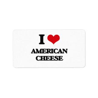 Amo el queso americano etiquetas de dirección