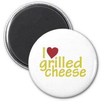Amo el queso asado a la parrilla imán redondo 5 cm