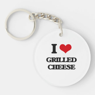 Amo el queso asado a la parrilla llavero