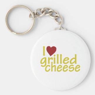 Amo el queso asado a la parrilla llaveros personalizados