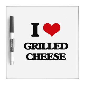 Amo el queso asado a la parrilla pizarras blancas de calidad