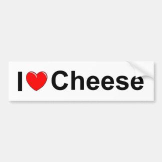 Amo el queso (del corazón) pegatina de parachoque