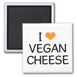 Amo el queso del vegano imán cuadrado